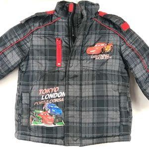 Disney Pixar Cars Grey Plaid Kids Jacket Coat 2T